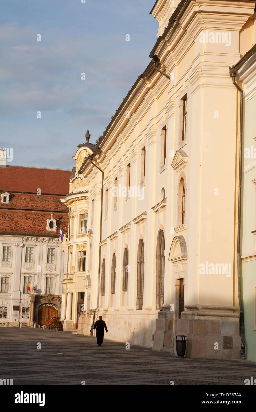 Sibiu, Hermannstadt in Transylvania, Piata Mare, Roman Catholic cathedral of the German Saxon minority. - Stock Image