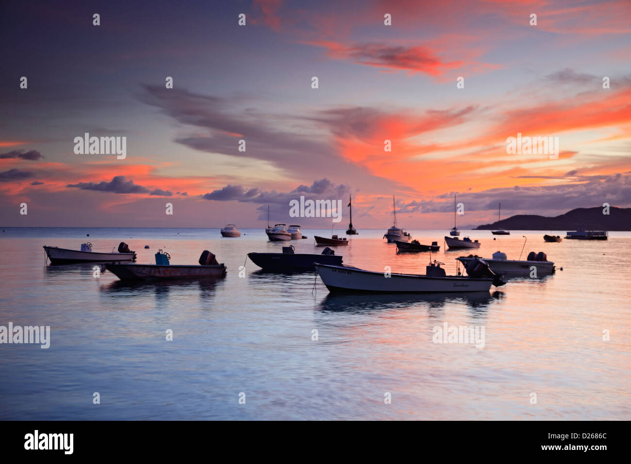 Fishing boats at sunset, Esperanza, Vieques, Puerto Rico - Stock Image