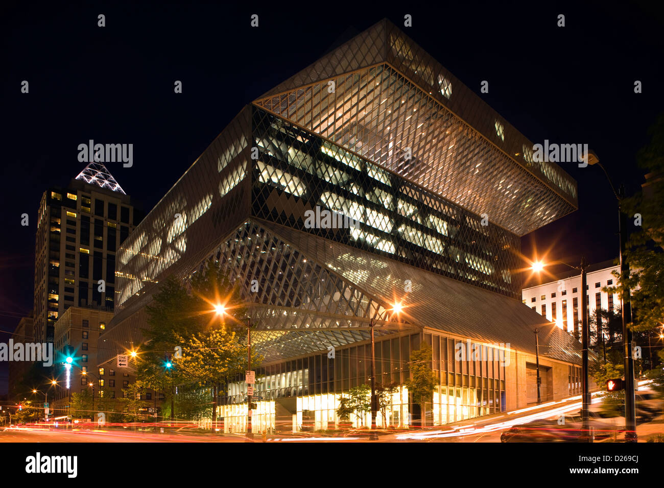 CENTRAL PUBLIC LIBRARY DOWNTOWN SEATTLE WASHINGTON STATE USA - Stock Image