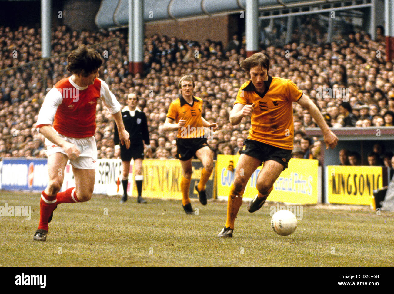 Wolverhampton Wanderers footballer Steve Daley taking on Pat Rice of Arsenal in FA CUP semi final 1979