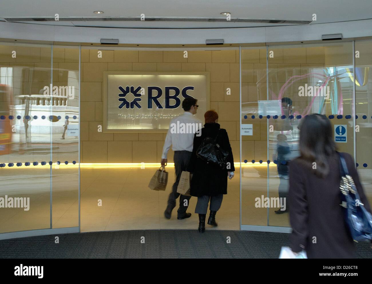 London, United Kingdom, the entrance of the Royal Bank of Scotland - Stock Image