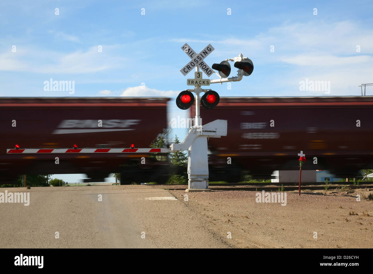 Railroad crossing fatality site - Stock Image