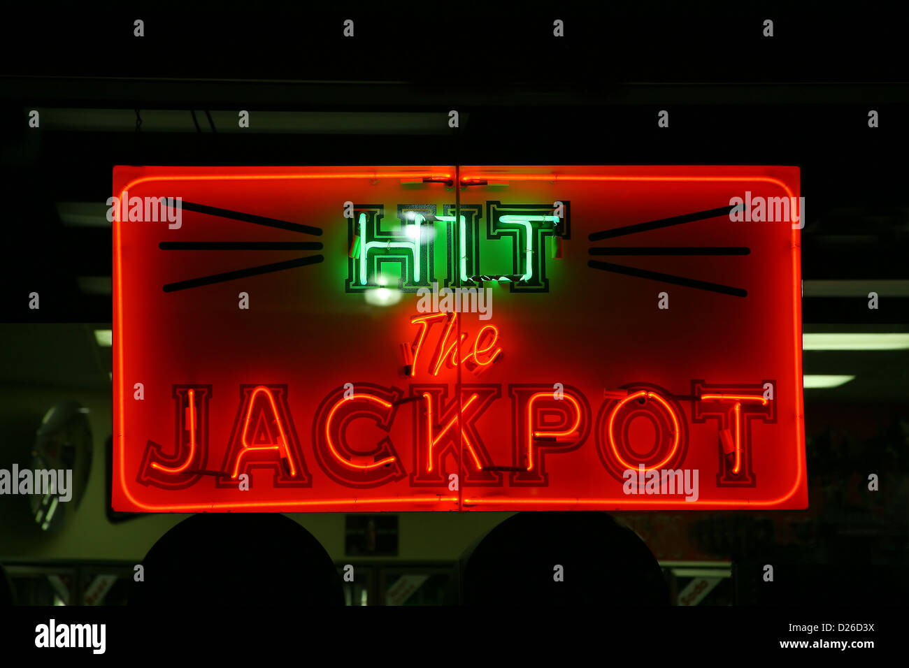 Hit the jackpot neon sign - Stock Image