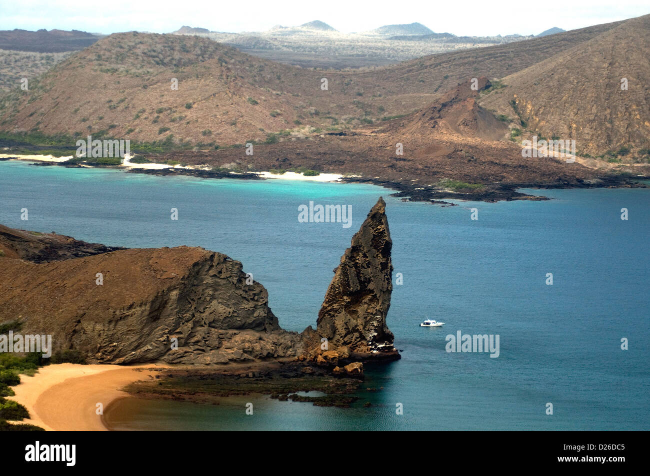 Bartolomé, off Santiago island in the Galapagos, boasts grand views of sea, beach, landscapes, even the striking - Stock Image