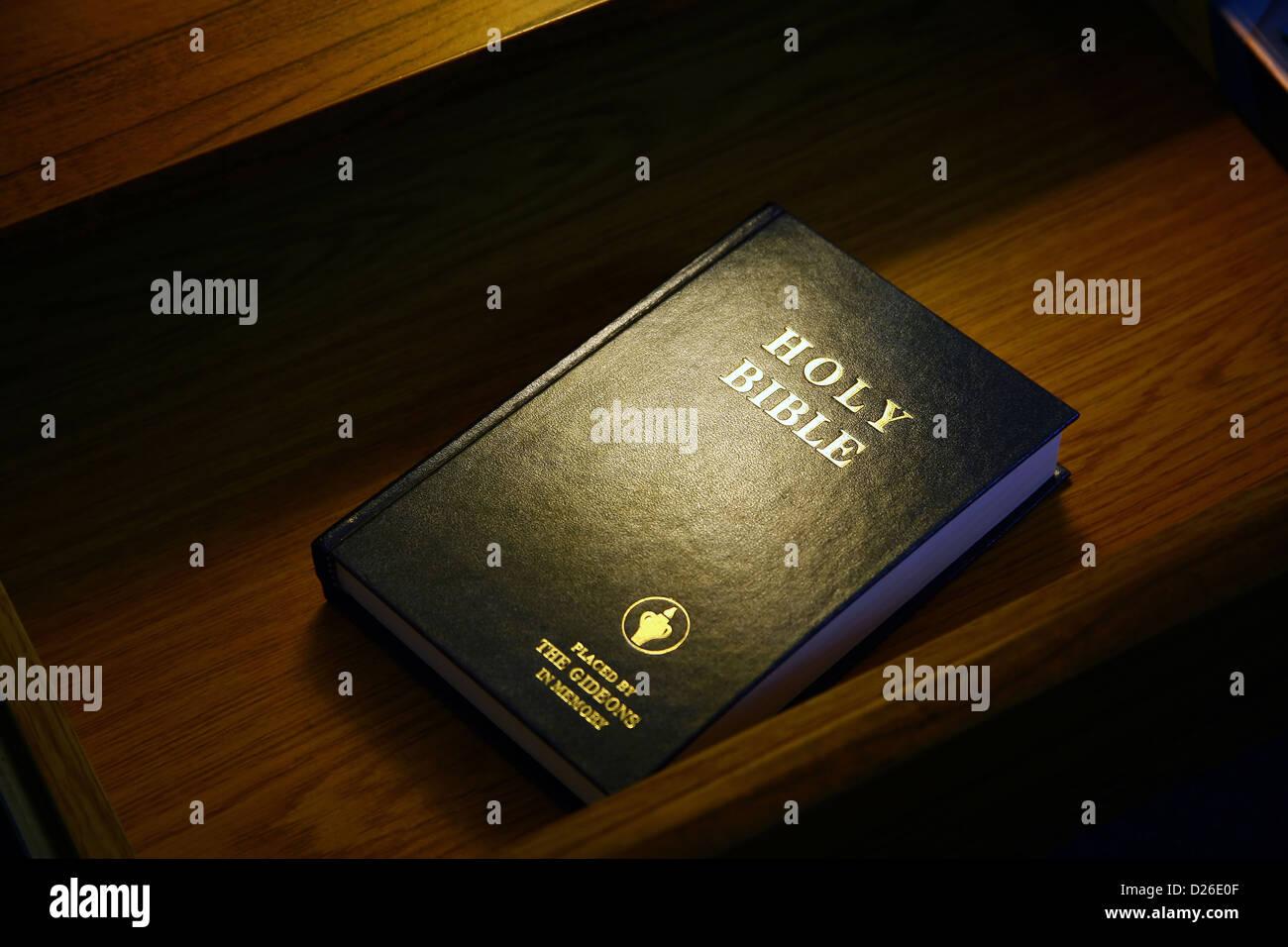 Gideon Bible in motel desk drawer - Stock Image