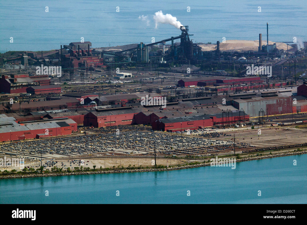 aerial photograph ArcelorMittal Indiana Harbor steelmaking complex, Indiana - Stock Image