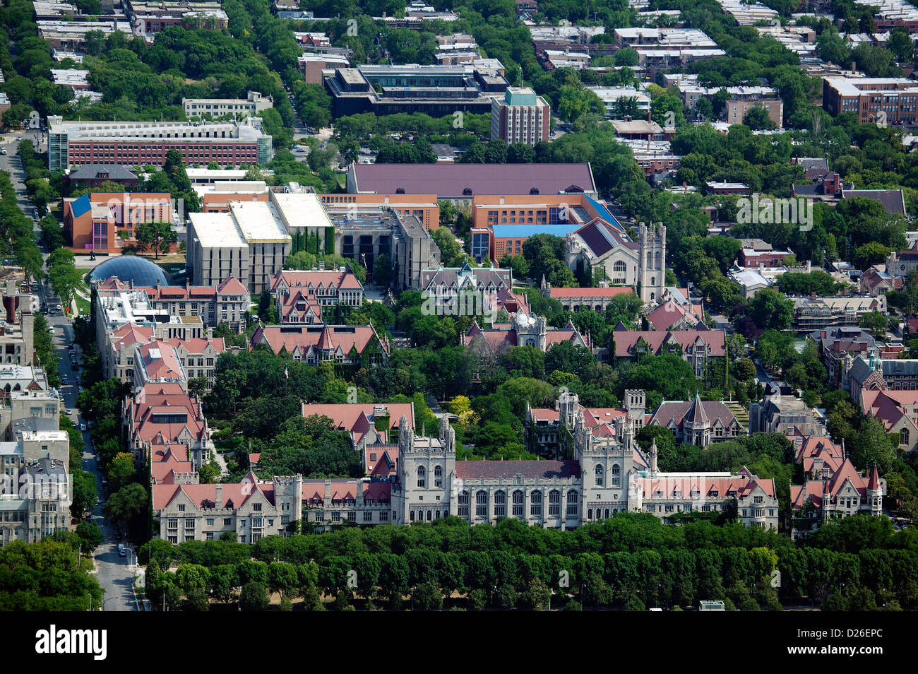 aerial photograph University of Chicago, Illinois - Stock Image