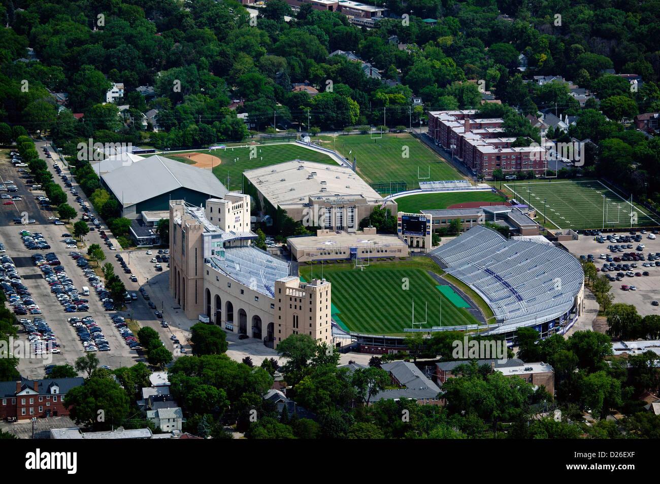 aerial photograph athletic facilities, Ryan Field, Northwestern University, Evanston, Illinois - Stock Image
