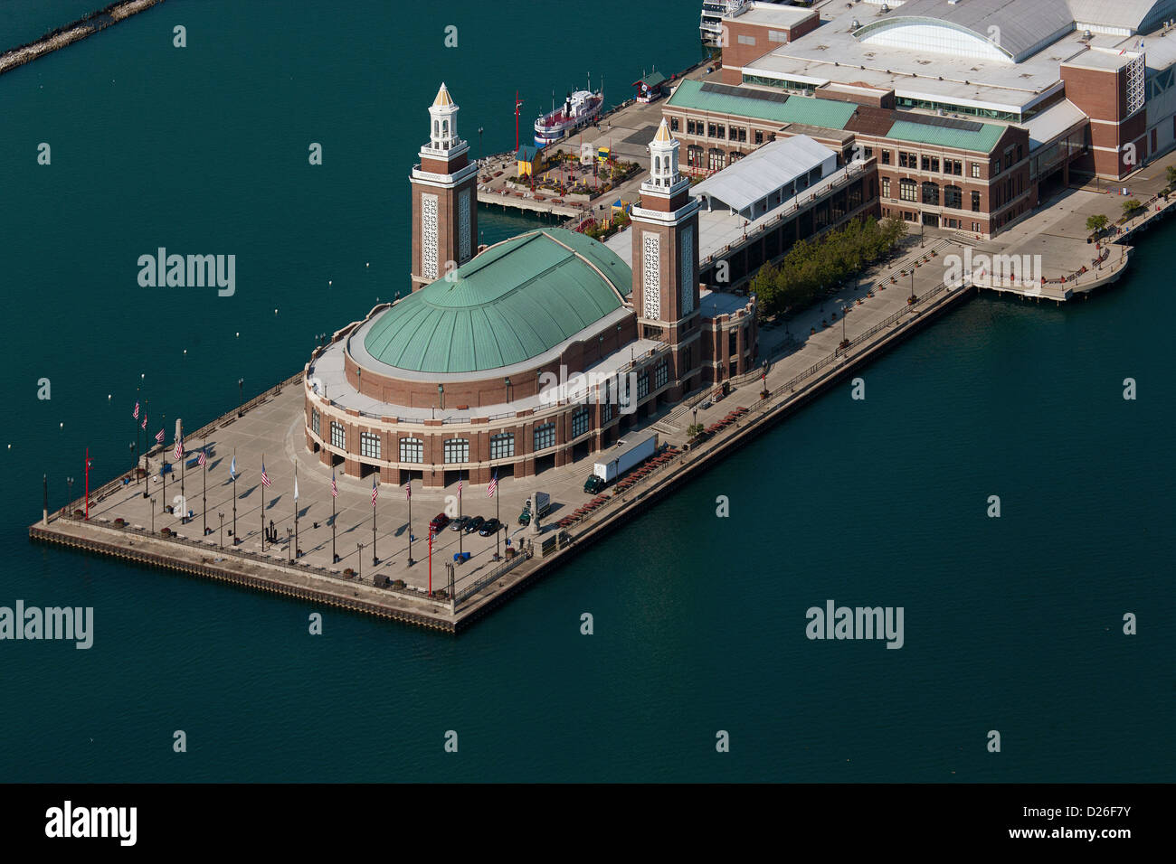 aerial photograph Navy Pier, Chicago, Illinois - Stock Image