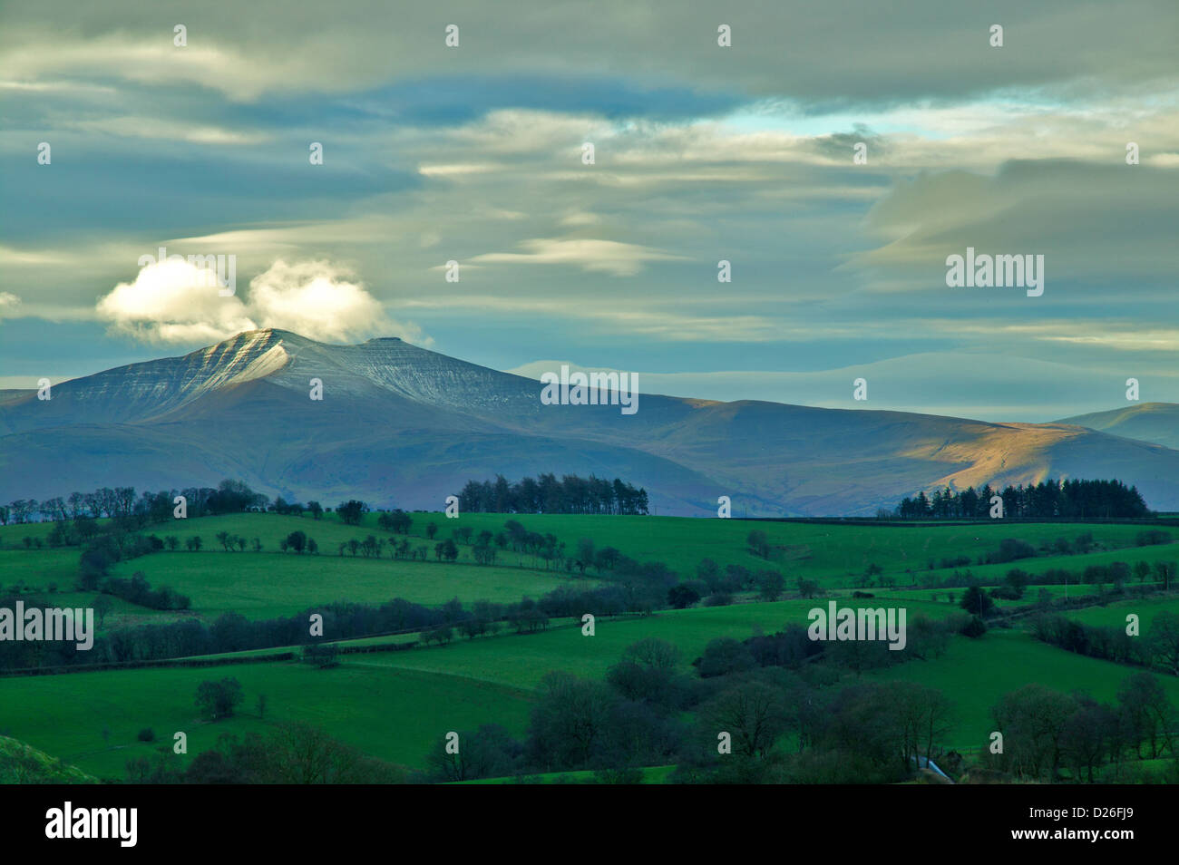 THE BRECON BEACONS POWYS WALES WITH A TOUCH OF SNOW - Stock Image