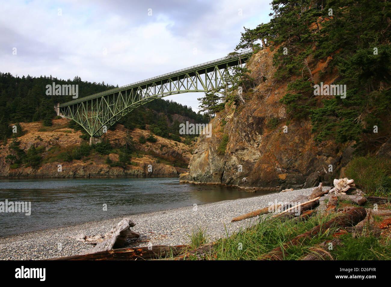 Deception Pass bridge Washington - Stock Image