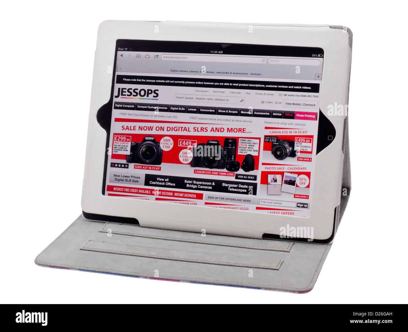 Apple Ipad showing Jessops Photography Website - Jan 2013. - Stock Image