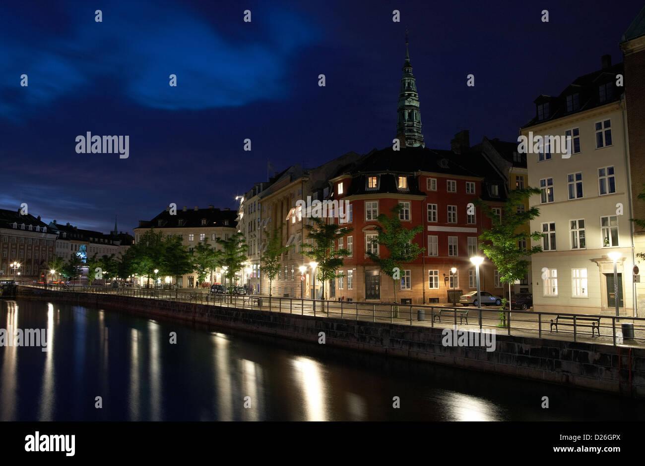Copenhagen, Denmark, Evening at Frederiksholms Kanal - Stock Image