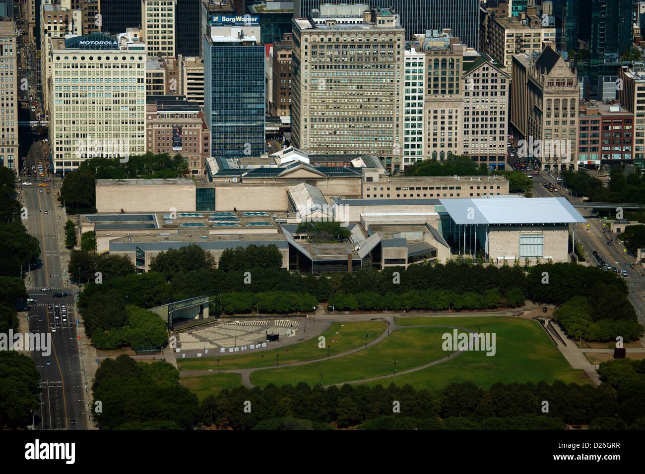 aerial photograph James C. Petrillo Music Shell, Art Institute, Grant Park, Chicago, Illinois - Stock Image