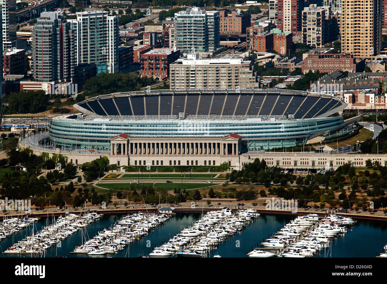 aerial photograph Soldier Field, Chicago, Illinois - Stock Image