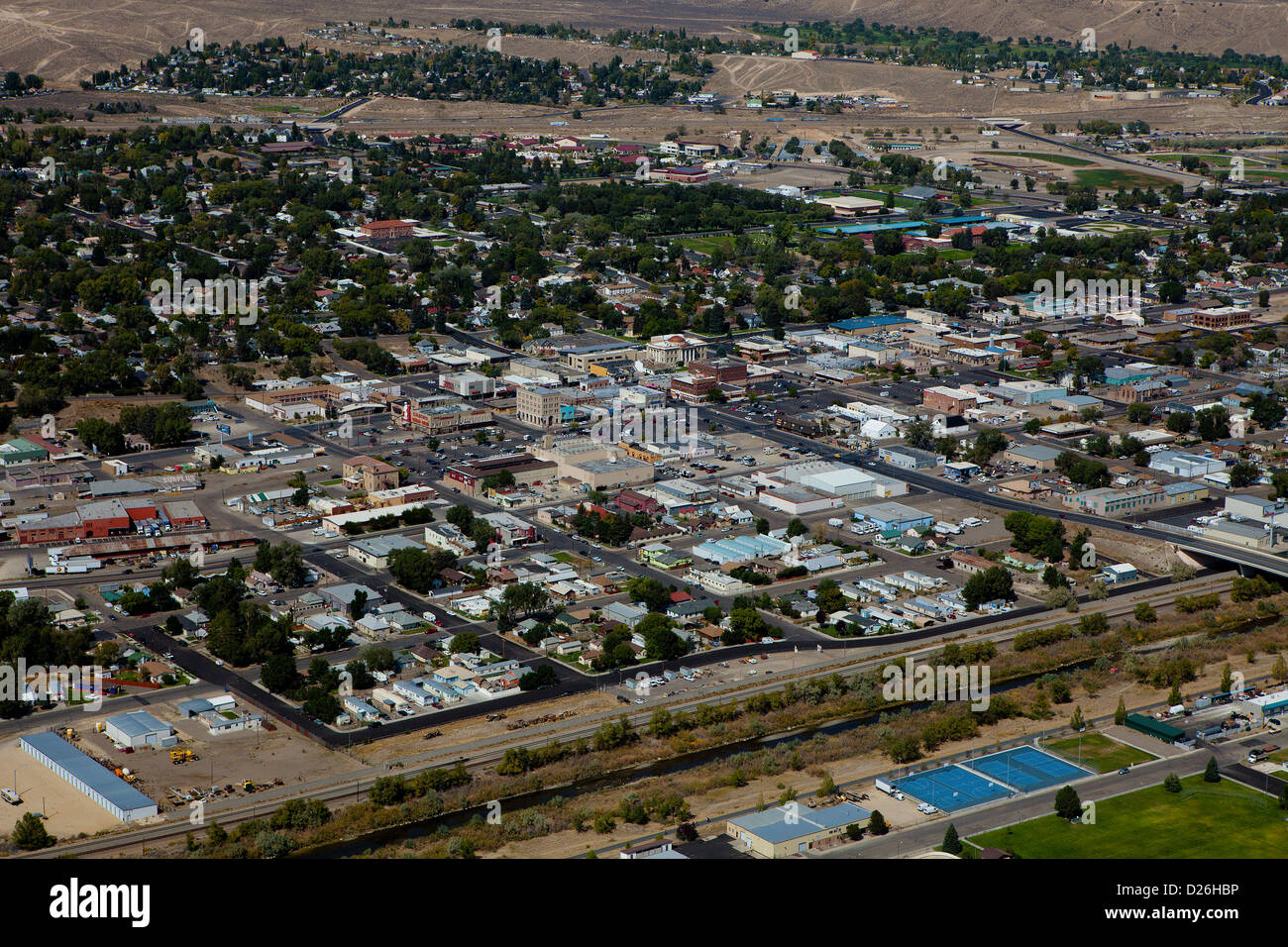 aerial photograph Elko Nevada - Stock Image