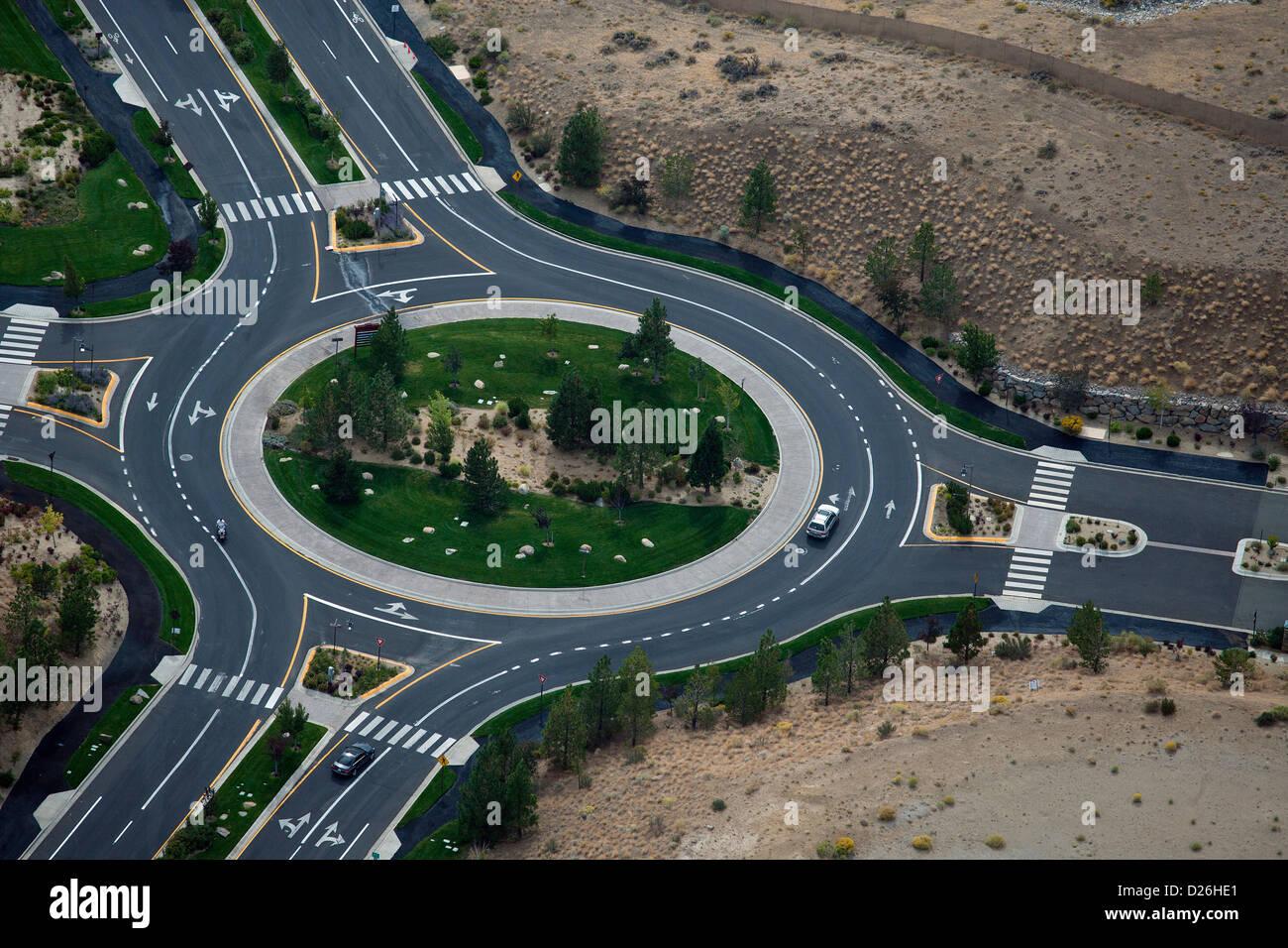aerial photograph roundabout Reno Nevada - Stock Image