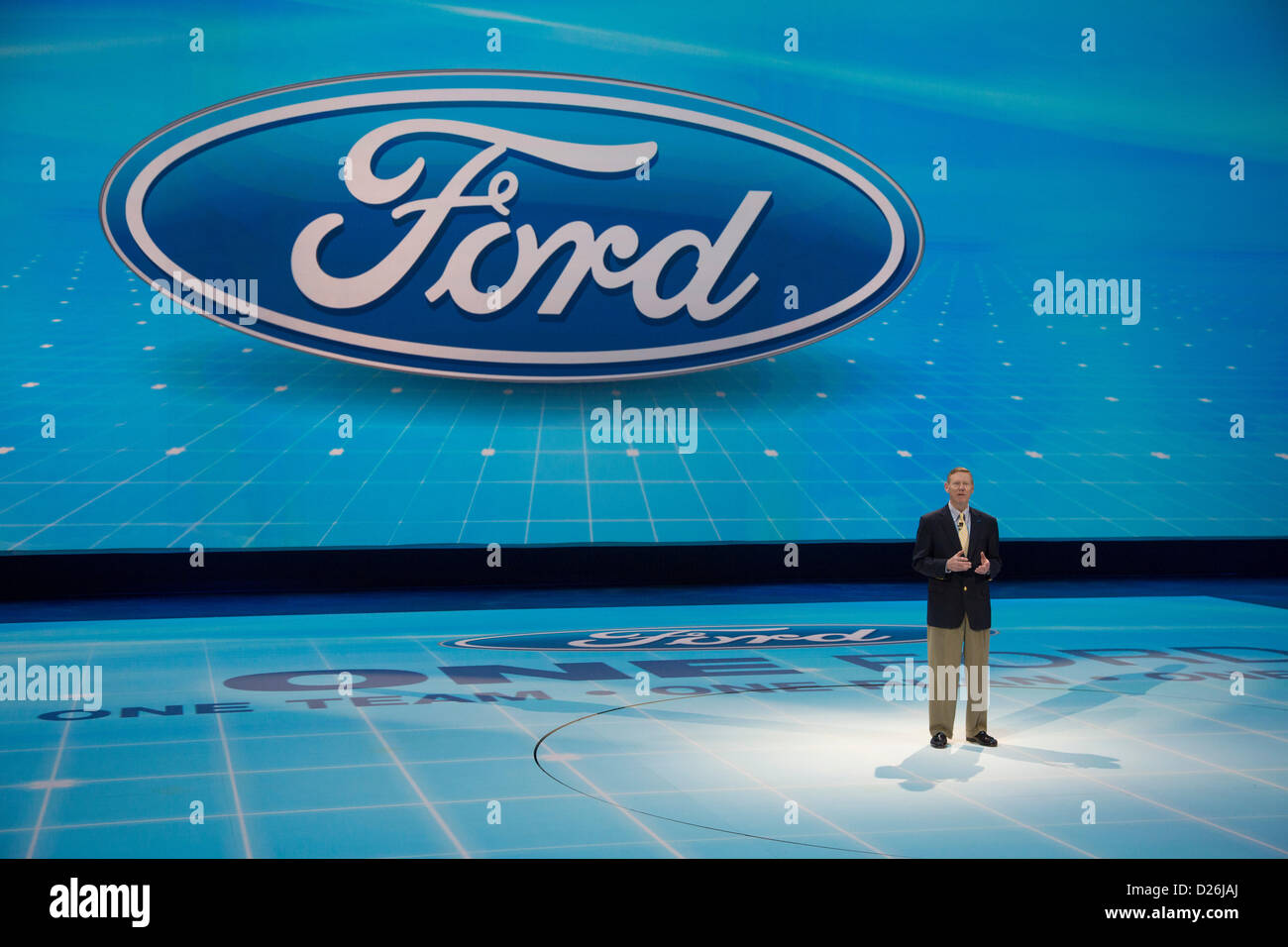 Detroit, Michigan - Ford Motor Co. President and CEO Alan Mulally speaks as the company introduces its Atlas concept - Stock Image