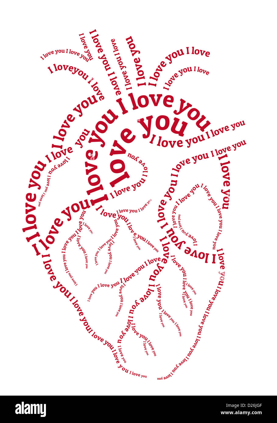 red human heart,hand drawn typography word art illustration - Stock Image