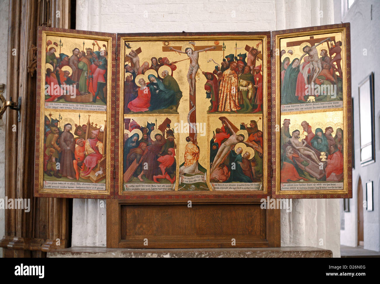 Luebeck, Germany, the altar of the canonical hours of the day in the Luebeck Cathedral - Stock Image