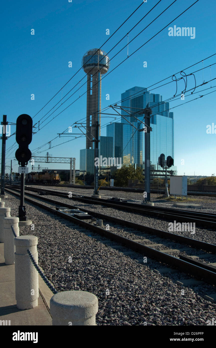 Rail Line, Downtown, Dallas, TX - Stock Image