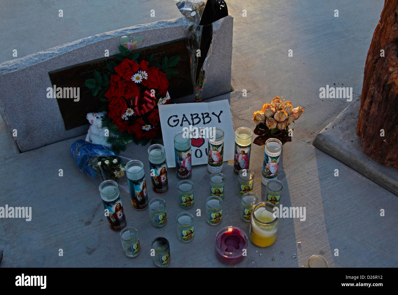 Remains from candlelight vigil - Stock Image
