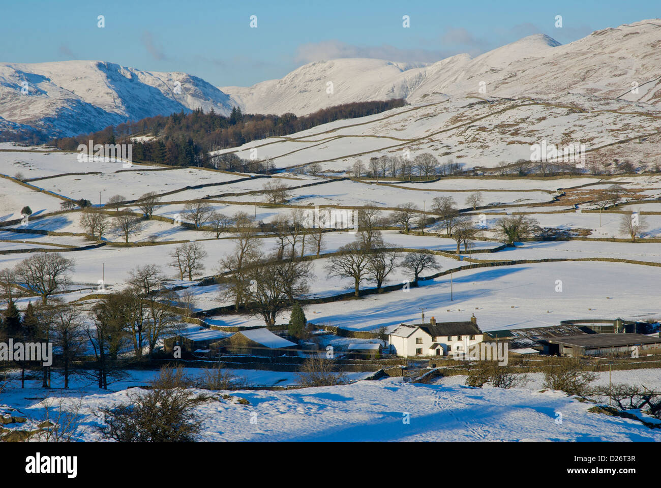 Causeway Farm, Woundale and the Troutbeck Valley, viewed from Orrest Head, Lake District National Park, Cumbria, Stock Photo