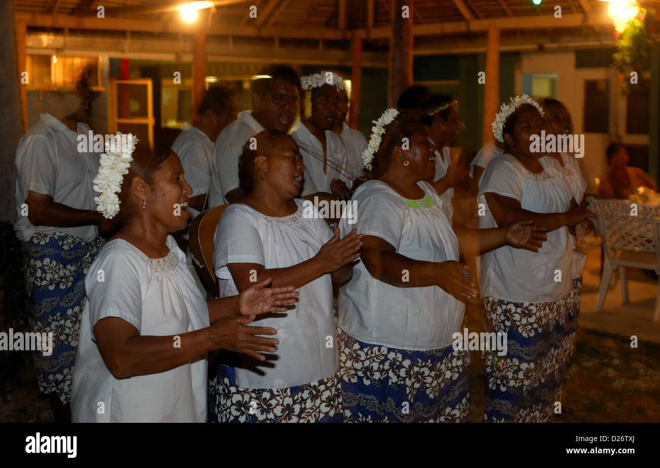 Local islanders singing at Christmas Island, Kiribati - Stock Image