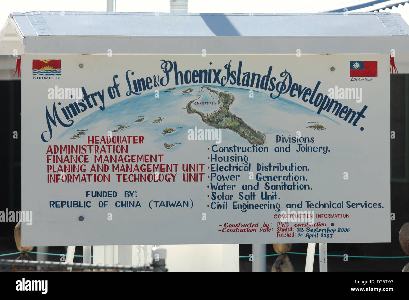 Ministry of Development at Christmas Island, Kiribati - Stock Image
