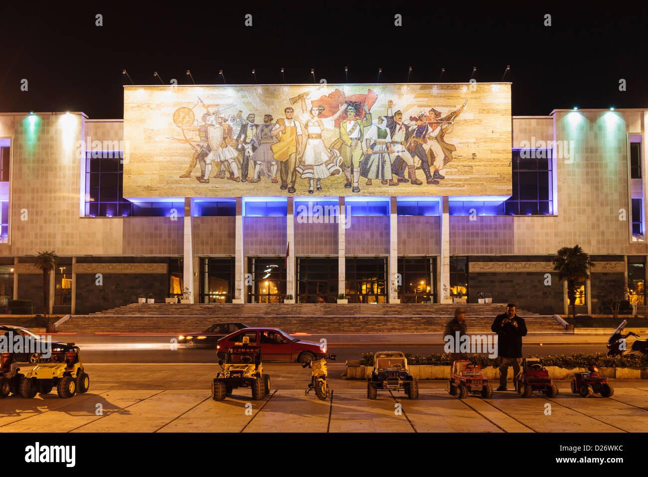 National Historical Museum at night. Tirana, Albania - Stock Image