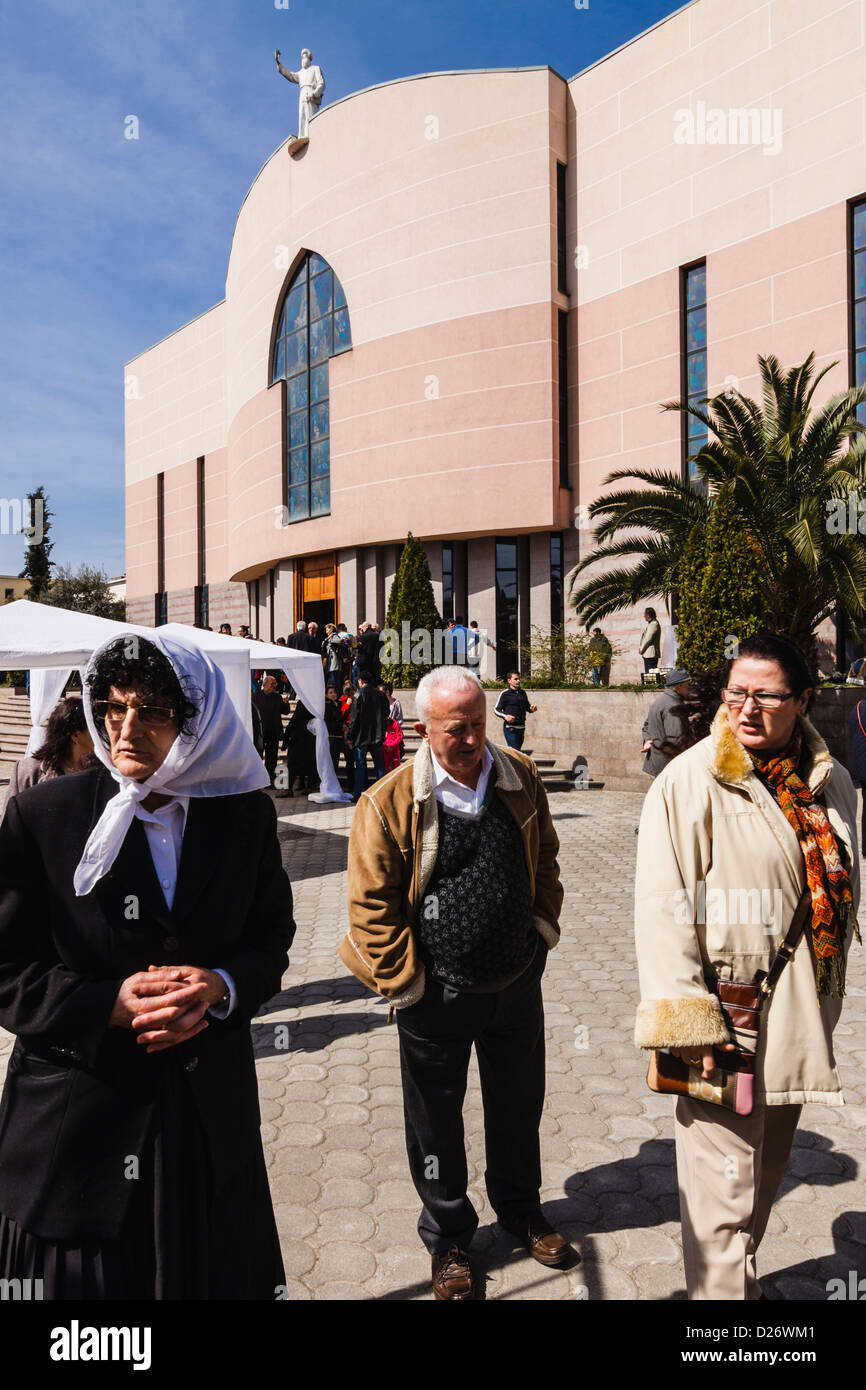People at St Paul's Catholic Cathedral. Tirana, Albania - Stock Image