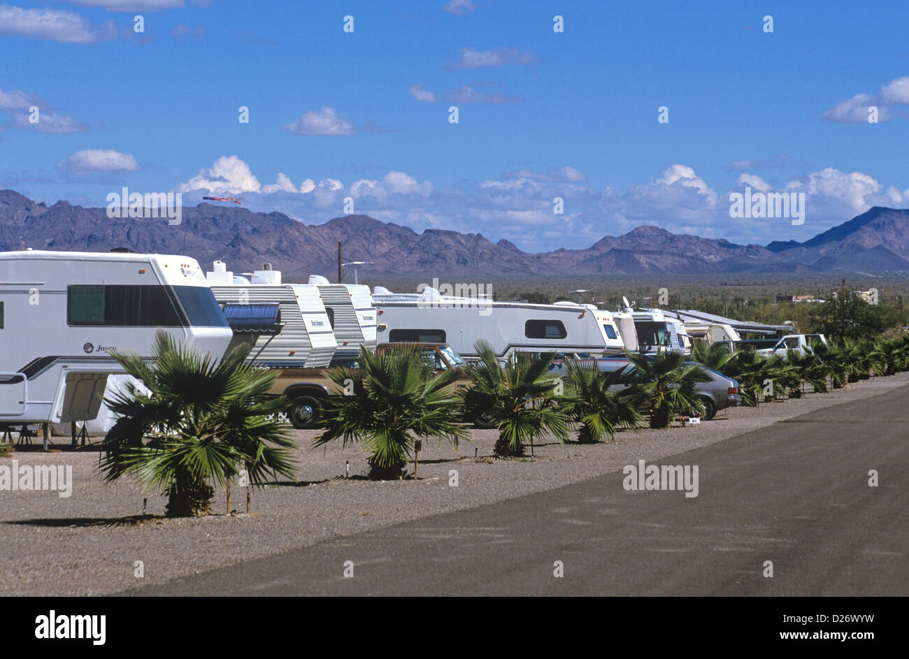 Every winter RV campers swarm to the desert community of Quartzsite, making it the third largest city in Arizona, - Stock Image