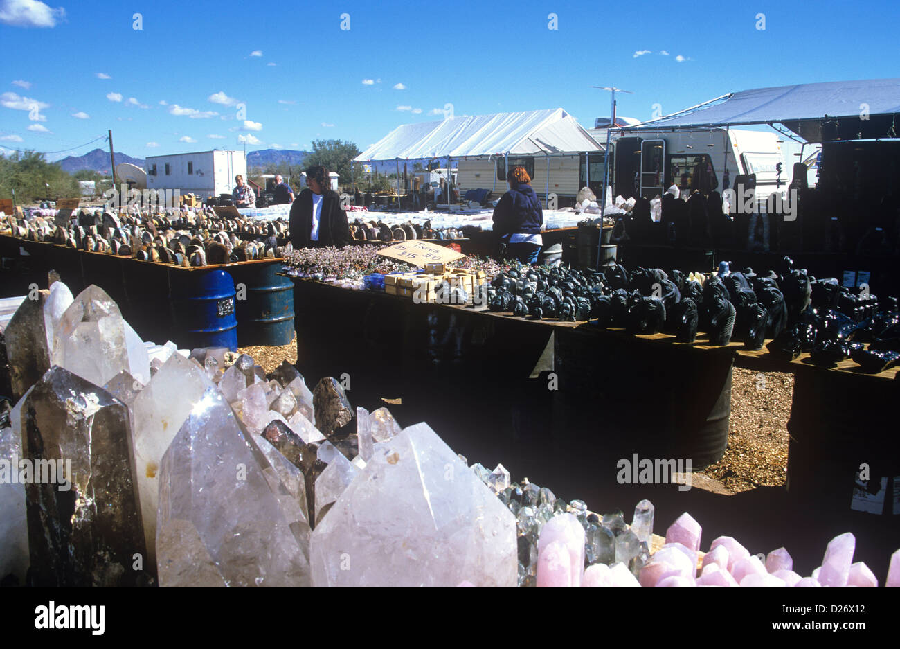 Massive quantities of gems and minerals are sold or traded at shows and swap meets each winter in Quartzsite, Arizona, - Stock Image