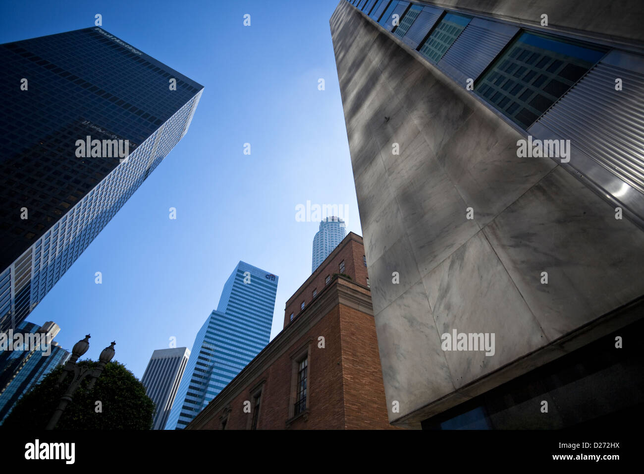 Skyscrapers in downtown Los Angeles City, Business District, California, USA.. - Stock Image