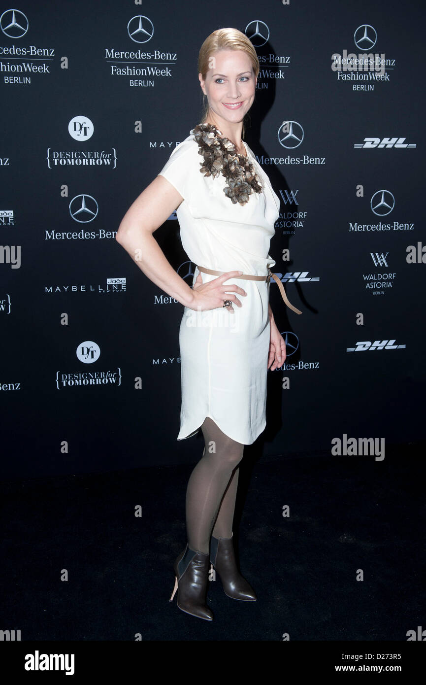 German Anchor Woman Judith Rakers Arrives At The Kilian Kerner Show During The Mercedes Benz Fashion Week In Berlin Germany