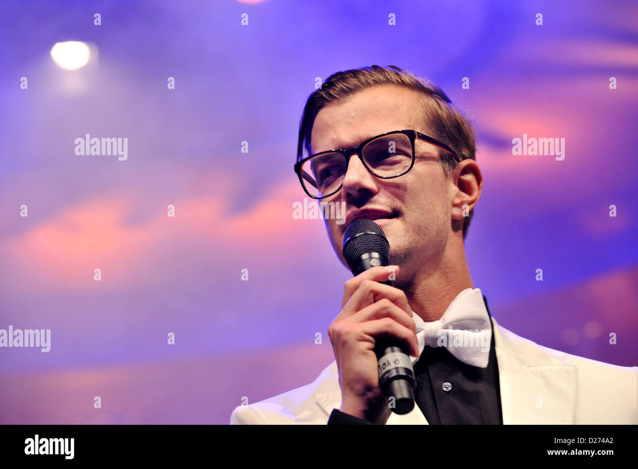 Host Joko Winterscheidt talks at the beginning of the fashion fair 'Bread & Butter' in Berlin at the - Stock Image