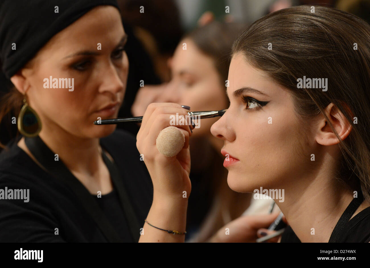 Models backstage at the Lena Hoschek show during the Mercedes-Benz Fashion Week in Berlin, Germany, 15 January 2013. - Stock Image