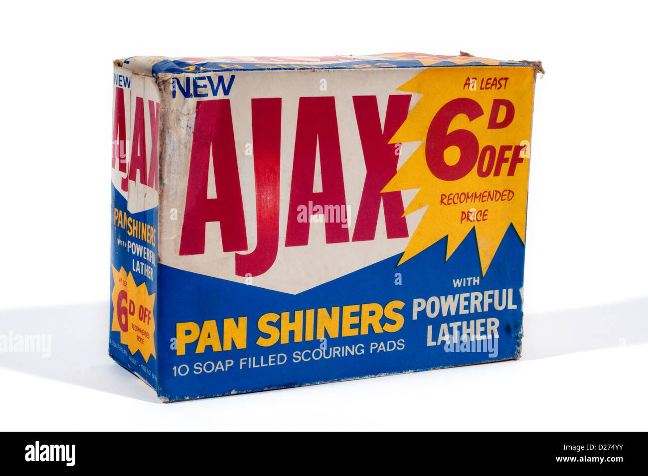 Old Ajax Pan Shiners box with sixpence off offer - Stock Image