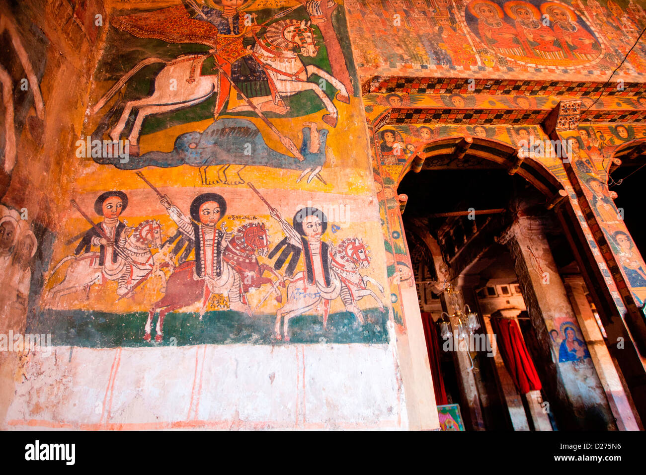 17th century paintings at the rock-hewn church of Abraha Atsbeha in the Gheralta Cluster, Tigray in Northern Ethiopia, - Stock Image