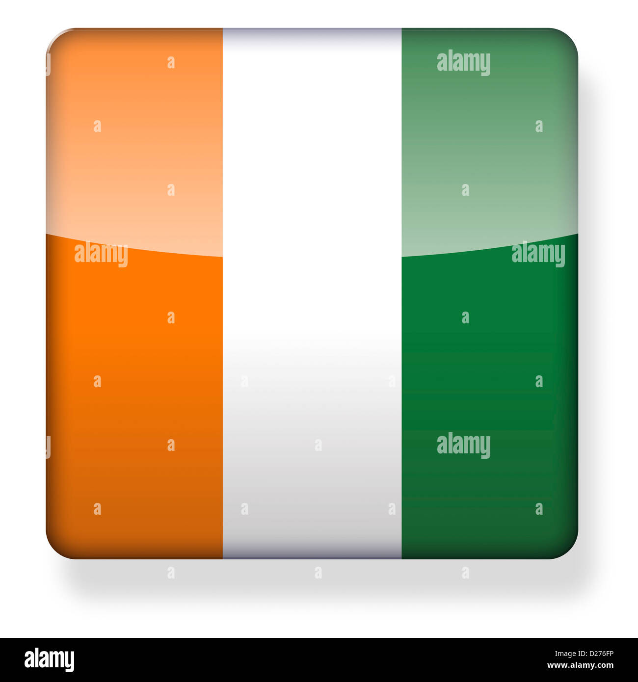 Cote d'Ivoire flag as an app icon. Clipping path included. - Stock Image