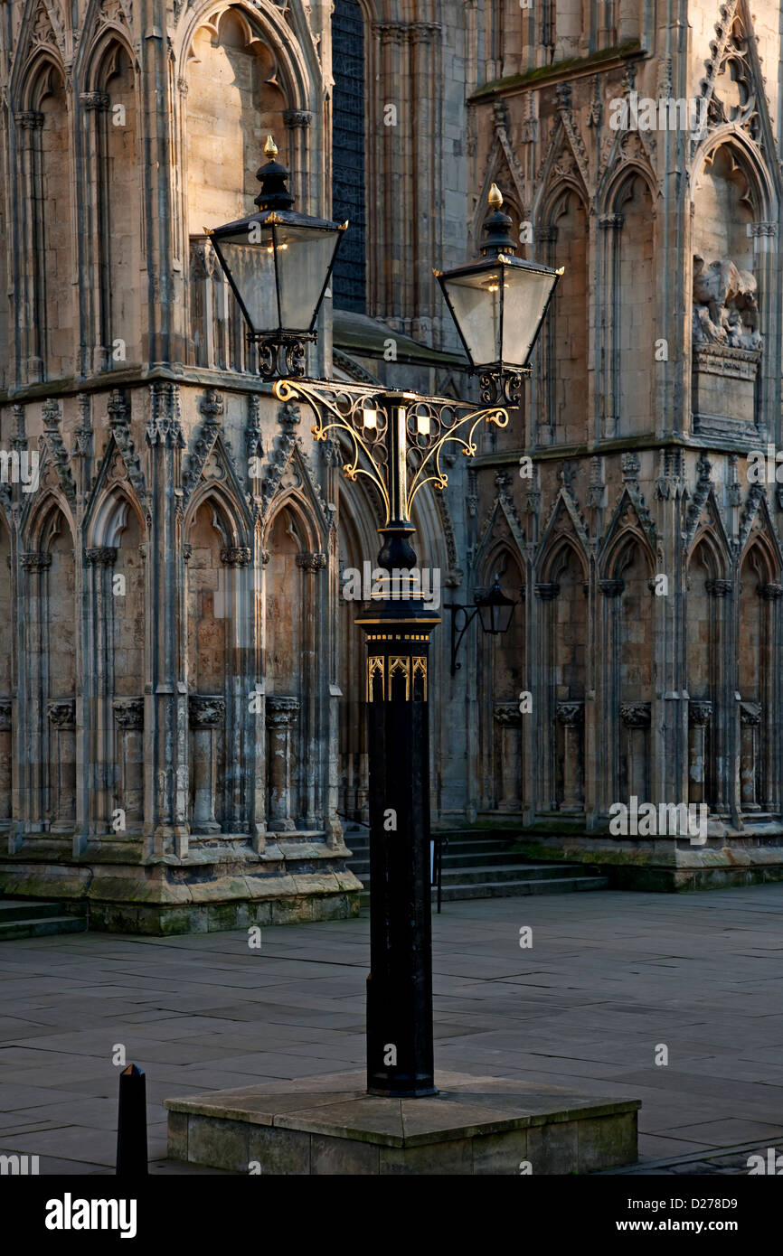 Lamp outside the West Front of the Minster York North Yorkshire England UK United Kingdom GB Great Britain - Stock Image