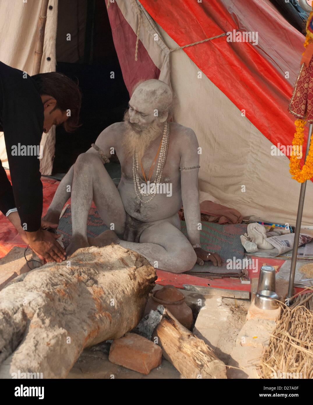 Naga Sadhus at Mahakumbh, Allahabad - 2013 - Stock Image
