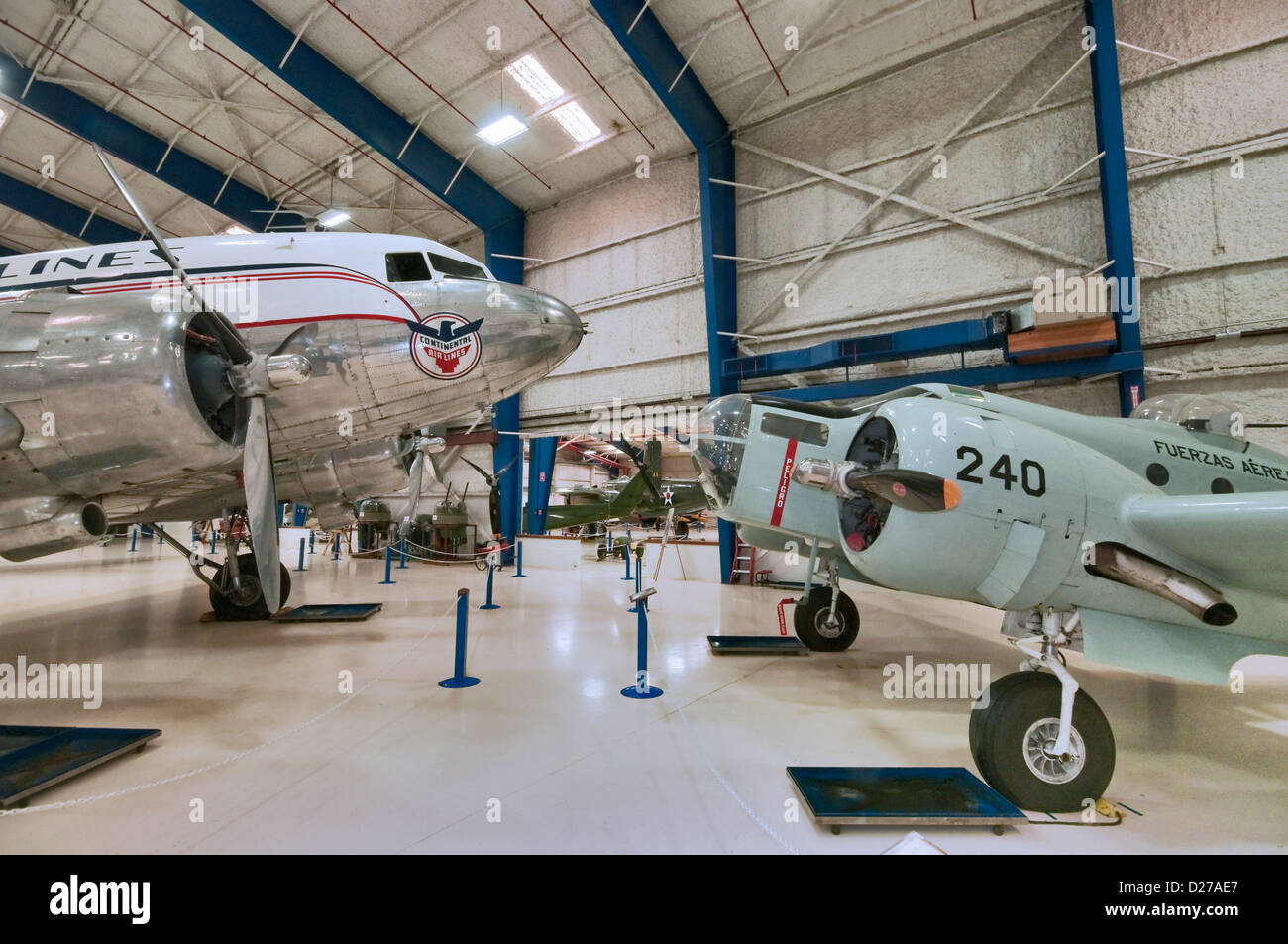 Beech AT-11 Kansan, Douglas DC-3A Dakota, at Lone Star Flight Museum, Galveston, Texas, USA Stock Photo