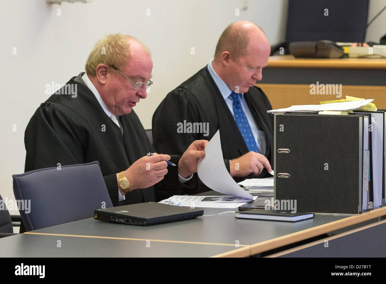 Regensburg, Germany, 16th January 2013. Edgar Weiler (L) and Andreas Geipel, defence lawyers of the ultra conservative Stock Photo