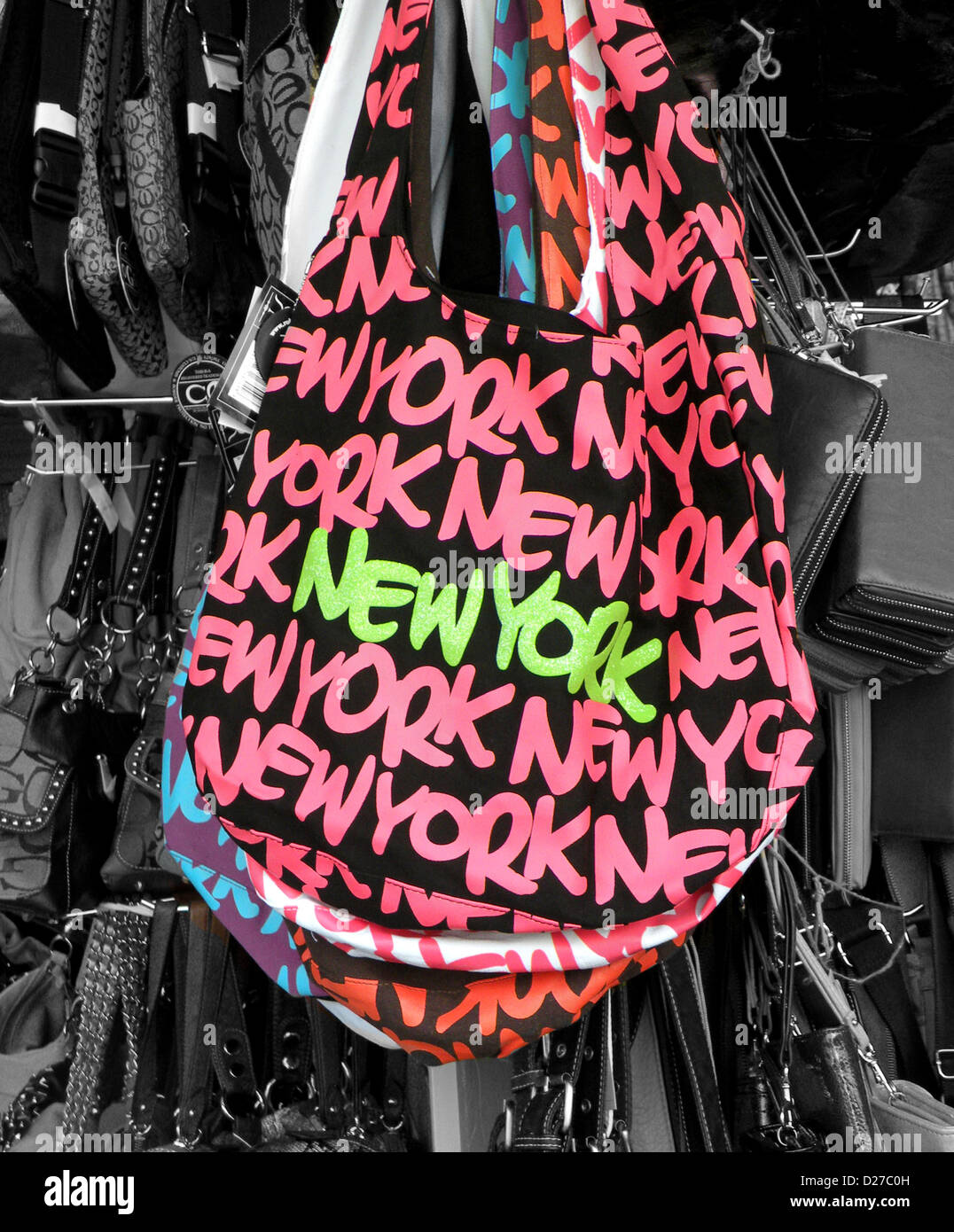 66e394fc1059 NEW YORK Handbag for sale in a Chinatown tourist shop on Canal Street in  lower Manhattan. Colors manipulated in Photoshop.