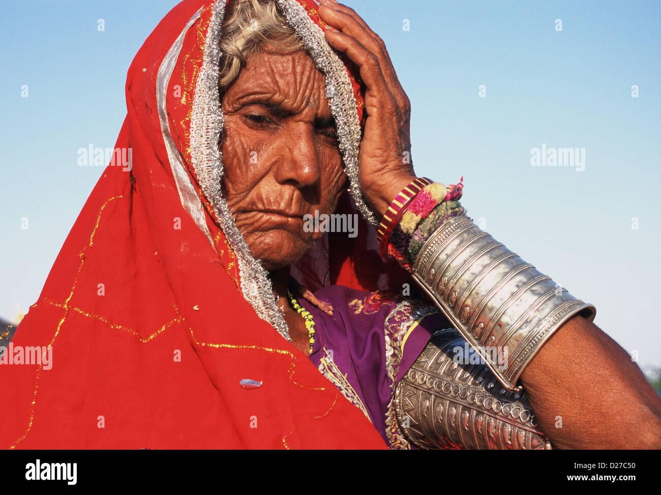 Old afflicted Indian woman ( India) - Stock Image
