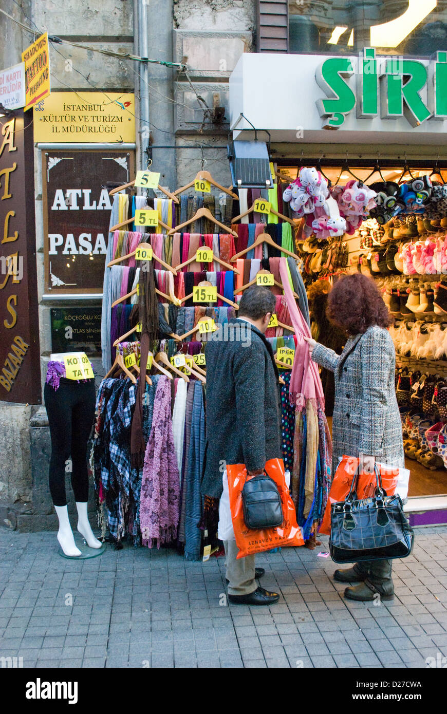Shoppers outside clothes shop in Istanbul, Turkey Stock Photo