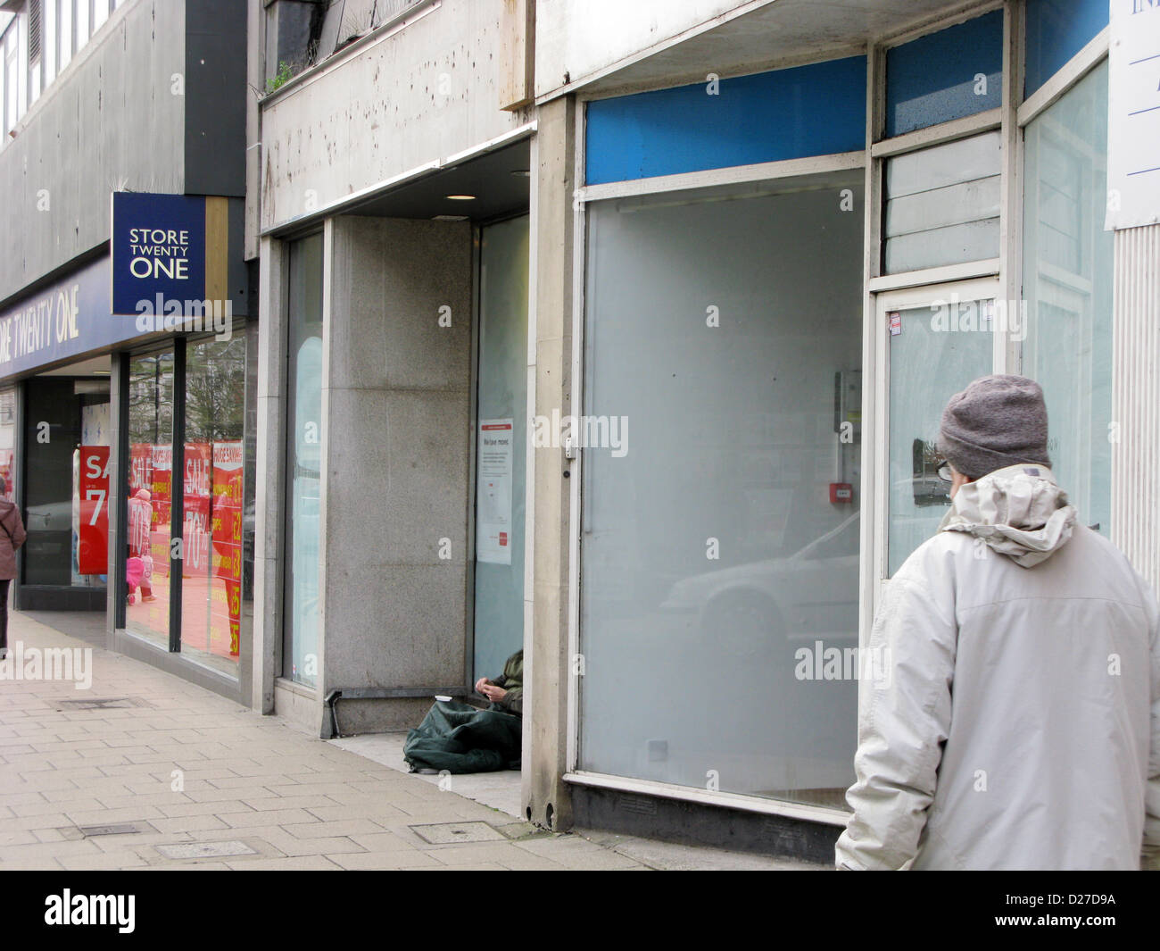 Unoccupied empty retail stores in the high street Worthing West Sussex UK - Stock Image