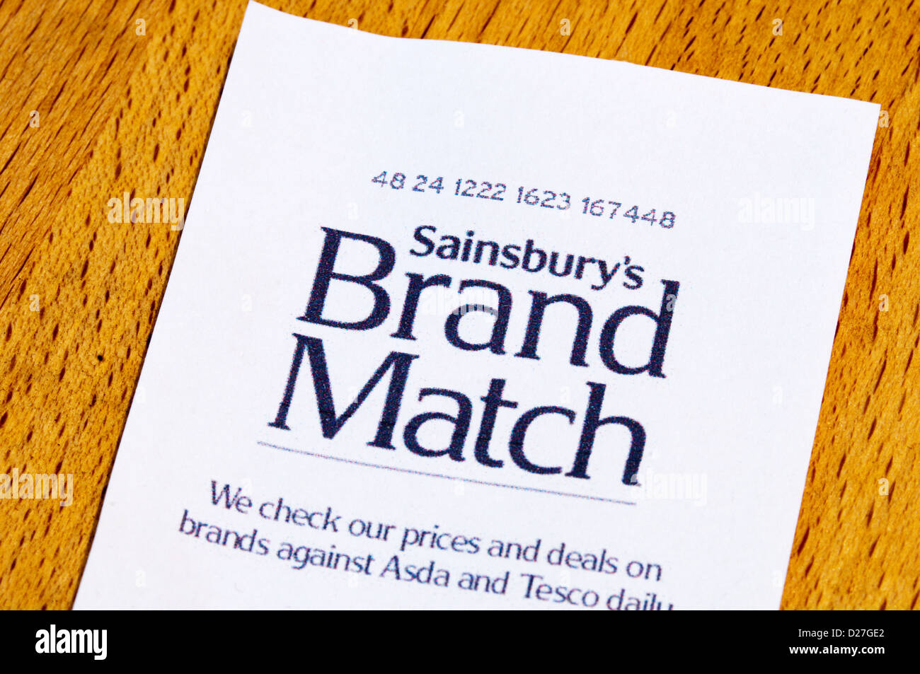 Sainsbury's Brand Match checks prices against Asda and Tesco to ensure that their prices are comparable. - Stock Image