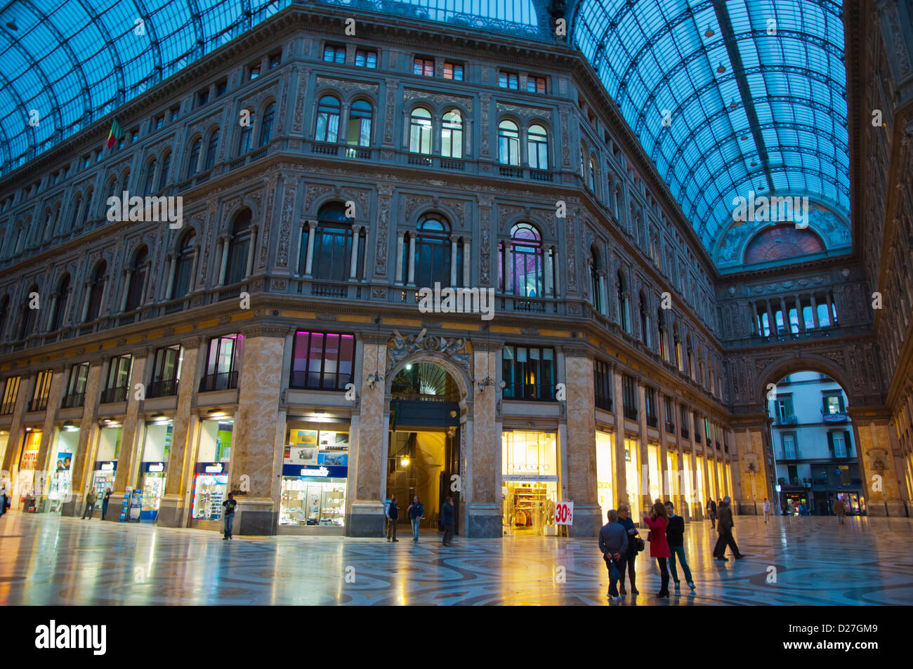 Galleria Umberto I (1900) shopping arcade central Naples city La Campania region southern Italy Europe - Stock Image